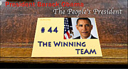 Michelle Obama Posters - Number 44 - The Winning Team Poster by Terry Wallace