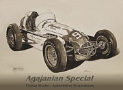 Indy Car Drawings Posters - Number 98 Poster by Carlos David