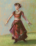 Dancing Girl Pastels Posters - Number Thirty-five Poster by Marie Marfia