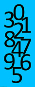 Numbers Digital Art - Numbers in Black and Blue by Jackie Farnsworth