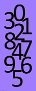 Numbers Digital Art - Numbers in Black and Purple by Jackie Farnsworth