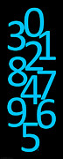 Numbers Digital Art - Numbers in Blue and Black by Jackie Farnsworth