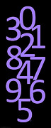 Numbers Digital Art - Numbers in Purple and Black by Jackie Farnsworth