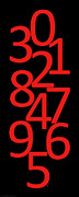Numbers Digital Art - Numbers in Red and Black by Jackie Farnsworth