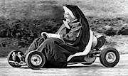 Go Cart Framed Prints - Nun On A Go-Kart Framed Print by Underwood Archives