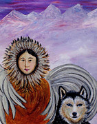 Siberian Husky Paintings - Nunataqu and Nanook Earth Angels From Alaska by The Art With A Heart By Charlotte Phillips