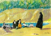Nuns Painting Prints - Nuns On Beach France Print by Ted Reynolds