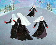 Nuns Painting Prints - Nuns Skating 1 Print by Donna Parker