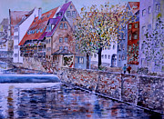 Nuremberg Walk By The Riverside Print by Alfred Motzer