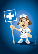 Cartoon Prints - Nurse Cartoon Woman Hospital Sign Print by Frank Ramspott