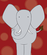 Elephant Art Prints - Nursery Art Elephant Red Print by Christy Beckwith