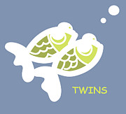 Twins Digital Art Prints - Nursery Wall Art for twins Print by Nursery Art
