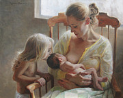 Breastfeeding Paintings - Nurturer by Anna Bain