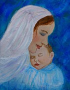 Child Jesus Paintings - Nurturing Love Of A Mother  by The Art With A Heart By Charlotte Phillips