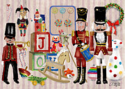 Christmas Blocks Framed Prints - Nutcracker And Friends Framed Print by Arline Wagner