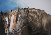 Quarter Horses Pastels Framed Prints - Nuzzle to Nuzzle Framed Print by Joni Beinborn