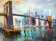 Skylines Painting Posters - NY City Brooklyn Bridge II Poster by Ylli Haruni