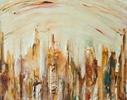 Blurry Mixed Media Prints - N.Y City Skyline Print by Justine Tiburzi