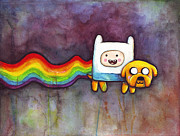Cartoon Painting Metal Prints - Nyan Time Metal Print by Olga Shvartsur