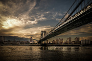 Nyc - Manhatten Bridge - Hdr- Sun Print by Hannes Cmarits