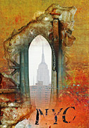 Brick Mixed Media Posters - NYC Abstract Collage Poster by Anahi DeCanio