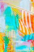 American City Mixed Media Prints - NYC American Flag Pop Art Print by AdSpice Studios