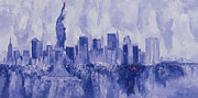 New York City Skyline Painting Framed Prints - Nyc Framed Print by Bayo Iribhogbe