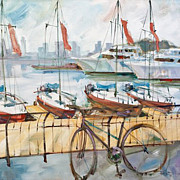 New Jersey Painting Originals - NYC Bikes World Financial Marina  by Rene Nascimento
