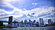 Nyc Pyrography Prints - NYC Brooklyn Bridge City Print by Alex Pochinok