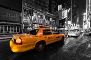 Gritty Posters - NYC cab times square color popped Poster by John Farnan