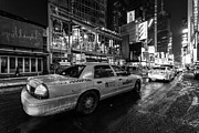 Winter Night Prints - NYC cab times square Print by John Farnan