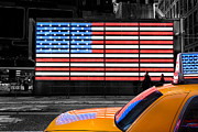 Skyline Prints Posters - NYC cab yellow times square Poster by John Farnan