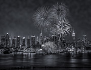 Skylines Metal Prints - NYC Celebrate Fleet Week BW Metal Print by Susan Candelario