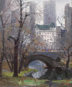 Cities Tapestries Textiles Originals - NYC Central Park by Ylli Haruni