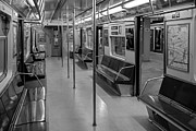 Commuting Posters - NYC F Subway Train BW Poster by Susan Candelario