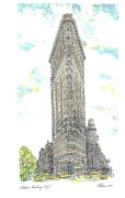 Kim Drawings - NYC Flatiron Building by Richard La Rovere