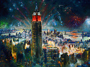 Fireworks Painting Metal Prints - NYC in Fourth of July Independence Day Metal Print by Ylli Haruni