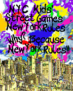 Knicks Metal Prints - NYC Kids Street Games Poster Metal Print by Bruce Iorio