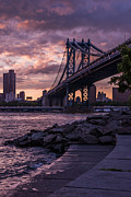 Manhatten Photo Prints - NYC- Manhatten Bridge at night Print by Hannes Cmarits