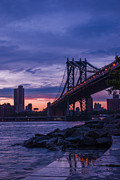 Nyc - Manhatten Bridge At Night II Print by Hannes Cmarits