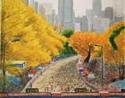 New York Pastels Framed Prints - NYC Marathon Framed Print by Samuel McMullen