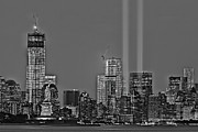 Skylines Metal Prints - NYC Remembers September 11 BW Metal Print by Susan Candelario