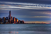 Skylines Art - NYC Setting Sun by Ryan Crane