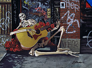 Blues Guitar Paintings - NYC Skeleton player by Gary Kroman