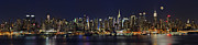 Full Moon Photos - NYC Skyline Full Moon Panorama by Susan Candelario