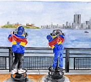 Twin Towers Trade Center Painting Metal Prints - NYC Skyline Memories Metal Print by Sheryl Heatherly Hawkins