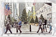 Skates Prints - NYC street scene holiday  Print by Geri Scull