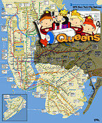 Central Park Mixed Media Prints - NYC Subway Map Queens Print by Keith QbNyc