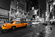 Black And White Prints Prints - NYC taxi times square color popped Print by John Farnan