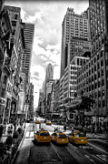 Nyc Digital Art Metal Prints - NYC Taxis Metal Print by Bill Cannon